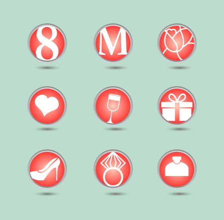 8 March, icon set, international women Vector