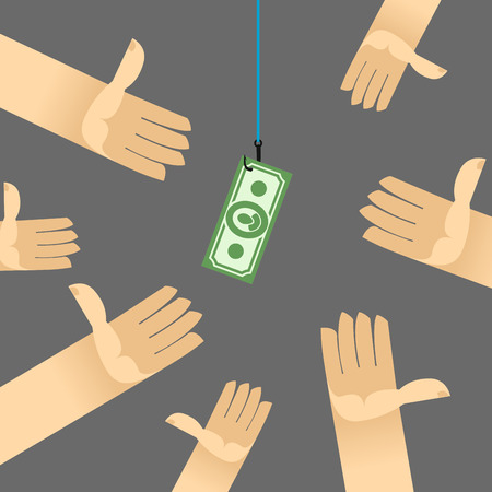 competitors: first among competitors. Money on a hook. hand is holding the money. Hands are drawn to money. Business illustration.