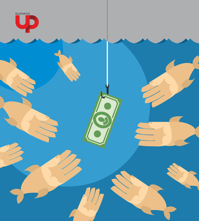 competitors: first among competitors. Money on a hook. Fish and money. hand is holding the money Hands are drawn to money. Business illustration Illustration