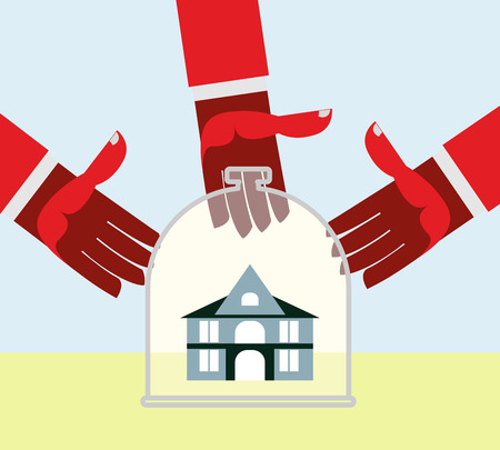 selling: Arms and money. Buying a House. Selling a home. Business illustration