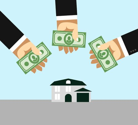 Arms and money. Buying a House. Selling a home. Business illustration