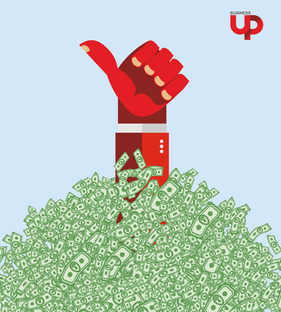 Hand and money. The hand of the winner in a heap of money. Business illustration Vector