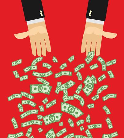 dare soldi: Mani che danno soldi. Acquisto. Denaro volare via