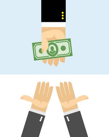 purchase: Hands give money. Purchase Illustration
