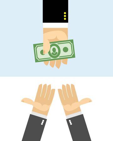dare soldi: Mani danno soldi. Acquisto Vettoriali