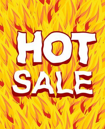 hot verkoop op een achtergrond vuur.
