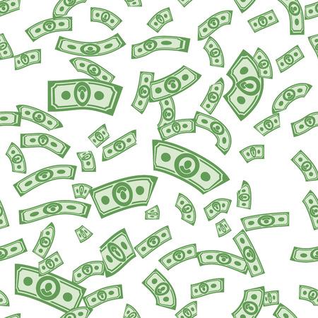 pieniądze: Wzory pieniądze bez szwu, tło pieniędzy z dolarów Ilustracja