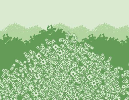 お金、お金、富、お金の束の多くの山、金背景ドルから