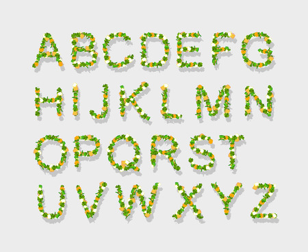 Green Leaves font, st. patrick day, clover font, Vector