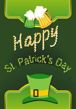 Happy St Patricks day card with beer, lucky clover Vector