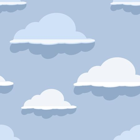 Cloud seamless pattern on blue . Vector