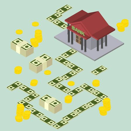 way to the Bank. Isometric stylele. vector illustration Vector