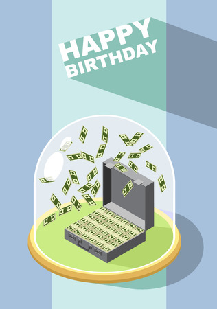 money wealth: Happy Birthday. Falling money. Case of money. Wealth. Congratulations greeting card. vector illustration. Illustration