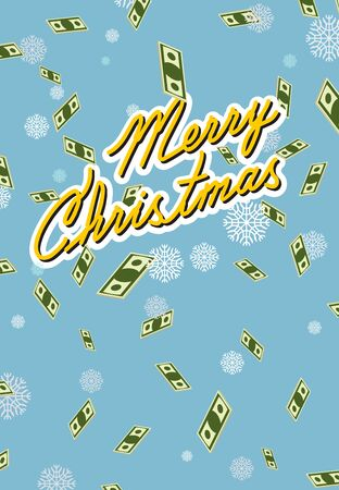 money wealth: marry christmas. Falling money. Case of money. Wealth. Congratulations greeting card