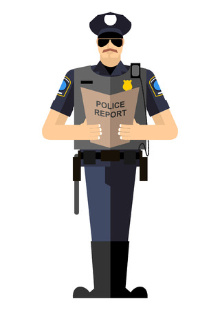 officier de police: Policier avec un rapport d'une ovation debout. Police isol�s. L'arrestation Illustration