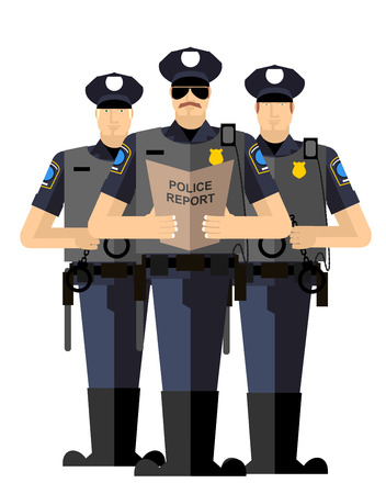 officier de police: Trois policiers ont �t� arr�t�s. silhouette de la police. Police isol�s. L'arrestation