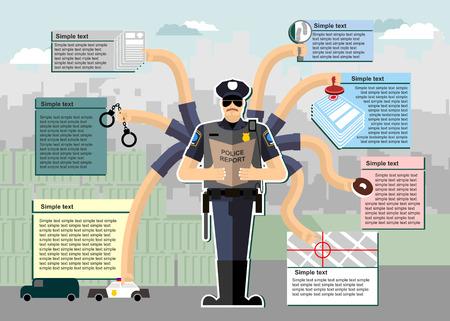 경찰 인포 그래픽. 직장에서 경찰. 근무 시간. 경찰에 서비스. 조사, 체포, 체이스, 범죄, 검색, 도넛. 제복을 입은 남자