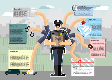 Politie infographic. Politie aan het werk. Werktijd. Dienst bij de politie. Onderzoek, arrestatie, Chase, misdaad, zoeken, donut. Man in uniform