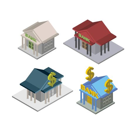 new account: Isometric bank Building Vector set  illustration