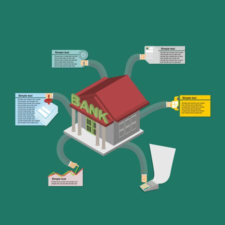 The Banks work. Infographics banking. Isometric style Vector