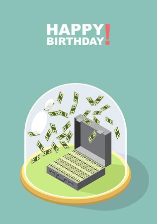 falling money: Happy Birthday. Falling money. Case of money. Wealth. Congratulations greeting card. vector illustration. Illustration