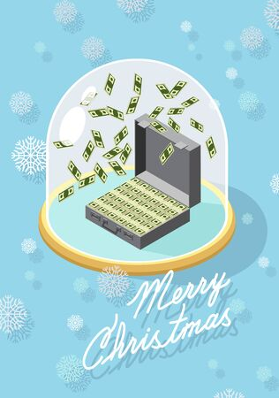 marry christmas. Falling money. Case of money. Wealth. Congratulations greeting card Vector