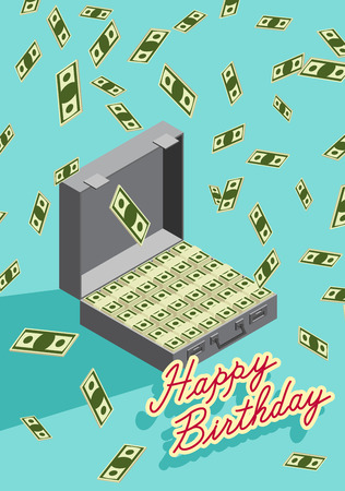 Happy Birthday. Falling money. Case of money. Wealth. Congratulations greeting card. vector illustration. Vector
