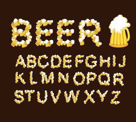 Font beer. Draught beer. Letters from beer mugs Vector