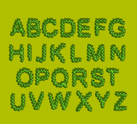 Leaves  Font Green. Eco alphabet. letters from the trees leaves Vector