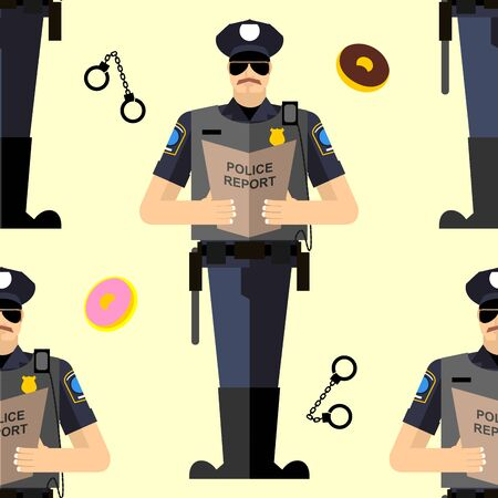 handcuffed: Police Seamless patetrn. Donuts and handcuffed policeman Illustration