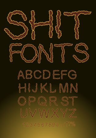 shit: Shit font, letters of shit. Brown color Illustration
