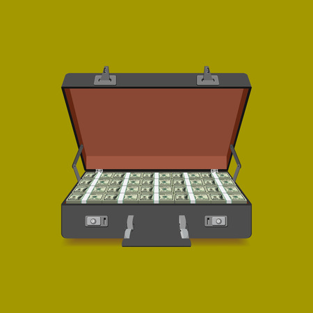 laundering: case full of dollar on white background Illustration