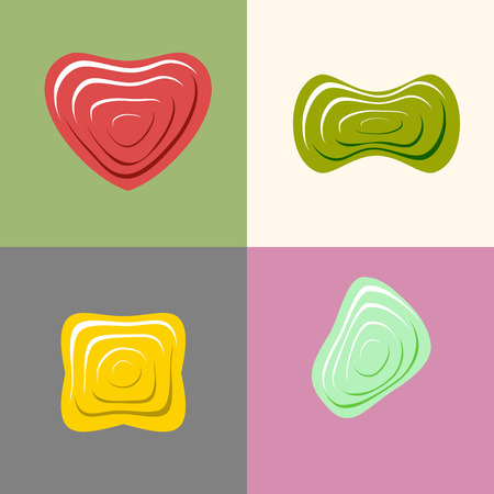 Set of icon of plastic forms. Heart icon Vector