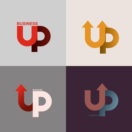 上矢印のロゴ。ビジネス アプリケーション アイコン。ベクトル図