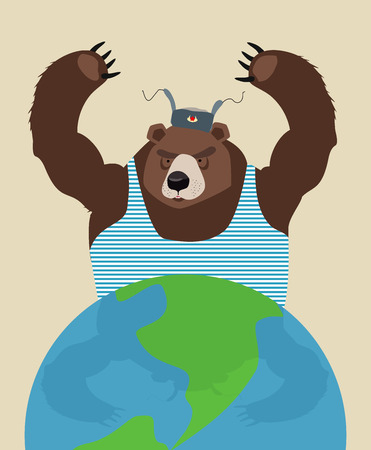 threatens: Russian bear threatens peace. The globe. Traditional Russian clothing. Vector illustration