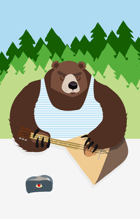 russian bear russian flag animal playing on the musical instrument bear symbol USSR Vector