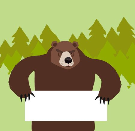 bear holding a sign In  forest Vector