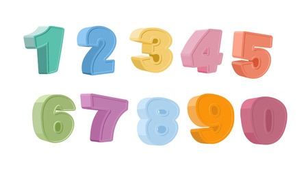 vector Illustration of colorful numbers.  Set of color paper numbers Vector