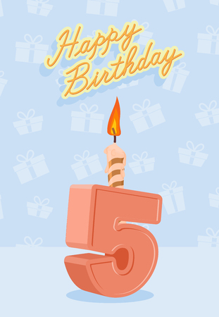 editable sign: Happy birthday card with 5th birthday. Vector illustration