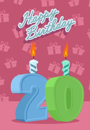 Happy Birthday Card With 20th Birthday Vector Illustration Royalty