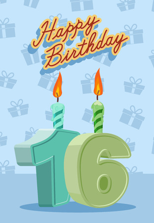number 16: Birthday candle number 16 with flame. vector illustration Illustration