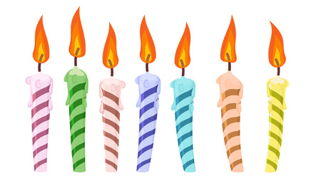 set of colorful birthday candles. vector illustration Vettoriali