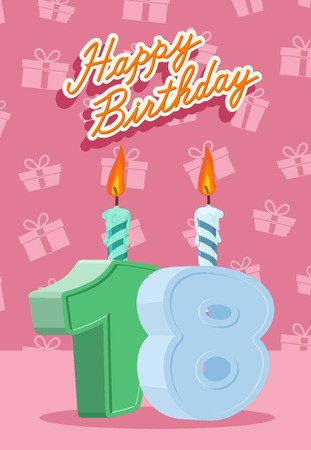 happy birthday text: Happy Birthday Vector Design. Announcement and Celebration Message Poster, Flyer Flat Style Age 18