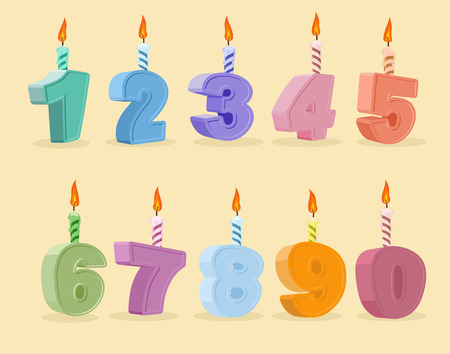 pink cake: birthday candles set. Vector illustration.  cartoon numbers