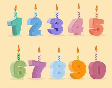 brandweer cartoon: verjaardag kaarsen set. Vector illustratie. cartoon nummers