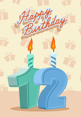 number 12: Birthday candle number 12 with flame.  vector illustration Illustration