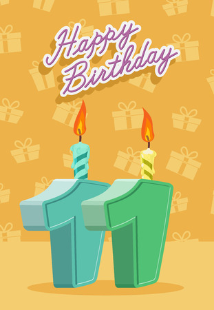 11 years: 11 years celebration, 11nd happy birthday. Vector illustration Illustration