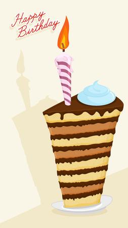 fondant fancy: Happy birthday postcard. Cartoon  High cake. Illustration