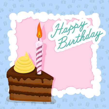 cake with candle for birthday postcard. Vector illustration Vector