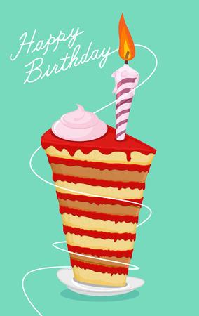 crooked: High cake. Happy birthday postcard. Birthday cake. Vector illusnration Illustration
